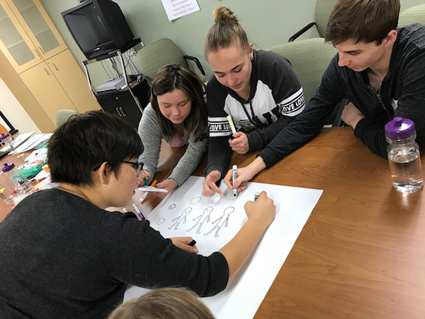 group working on a poster together